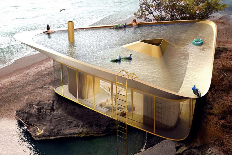 Különleges tetőmegoldás, vízgyűjtés